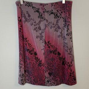 Floral ombré stretchy skirt L